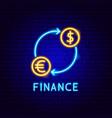 finance dollar euro neon label vector image vector image