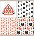 folk art pattern collection with seamless and vector image vector image