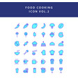 food cooking icon set filled outline set vol 2 vector image vector image