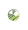green project solution center initial p vector image vector image