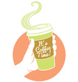 Hand holding dispossable coffee cup Cardboard vector image vector image
