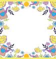 little bird flying with flowers garden pattern vector image vector image