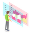 man stands and researches graph data bar chart vector image
