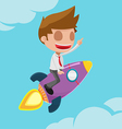 Man Worker Go Fly Rocket vector image