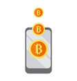 mobile get bitcoin graphic vector image