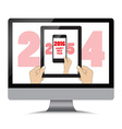 new year 2016 Isolation man hand holding the phone vector image vector image