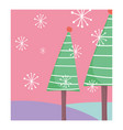 pine trees snowflakes celebration merry christmas vector image vector image