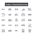 public transportation line icons signs vector image vector image