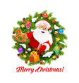 santa with gifts in christmas wreath frame vector image vector image