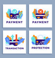 set credit card stock for landing page or vector image vector image
