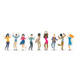 set happy multiracial dancing people vector image