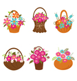 Set of basket of flowers vector image
