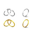 set of gold and silver wedding rings vector image