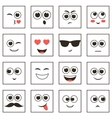 set of square smiley faces vector image vector image