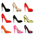 set of womens shoes with vector image vector image
