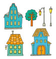 set with different houses sketches houses vector image vector image