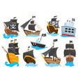 set wooden pirate buccaneer filibuster corsair vector image