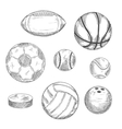 sketches sporting balls and ice hockey puck vector image