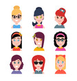 stylized beautiful young girls and women avatars vector image vector image