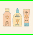 Sunscreen bottles outline vector image