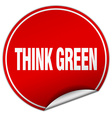 think green round red sticker isolated on white vector image vector image