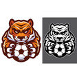tiger football soccer mascot vector image