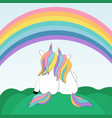 two enamored unicorns watching the rainbow vector image vector image
