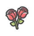 two red roses icon cartoon vector image vector image
