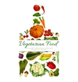 Vegetarian food poster with vegetables vector image vector image