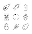 white background with monochrome set of foods vector image