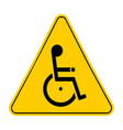 yellow triangle warning signs with handicapped vector image vector image