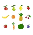 pixel art style fruits vegetables and berries vector image