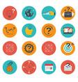 set of business icons flat marketing e-commerce vector image
