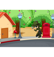 A detective at the road with a magnifying lens vector image