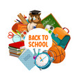back to school owl teacher and student study books vector image
