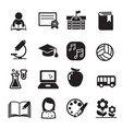 basic school icon set vector image vector image