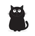 black kitten cat looking up cute cartoon funny vector image vector image