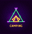 camping neon label vector image