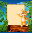 cartoon lion standing on hollow log near the empty vector image vector image