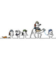 cartoon people walking in the desert vector image vector image