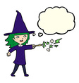 cartoon witch girl casting spell with thought vector image