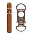 cigar and cigar cutter flat vector image