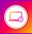 color laptop and gear line icon on color vector image vector image