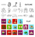 country india flat icons in set collection for vector image
