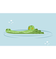 Crocodile in water large alligator in swamp Cute vector image