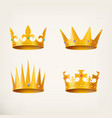 crowns for king or queen 3d royal headdress vector image