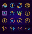 finance neon icons vector image vector image