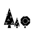 fir tree black icon concept fir tree sig vector image
