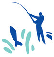 fishing a man with a fishing rod and a fish caugh vector image