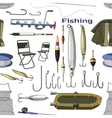 Fishing hand drawn pattern vector image